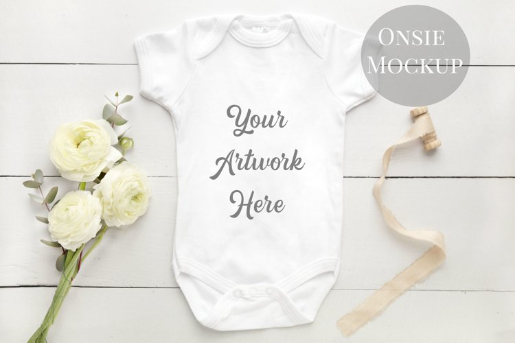 Onsie, Infant bodysuit Mockup example image 1