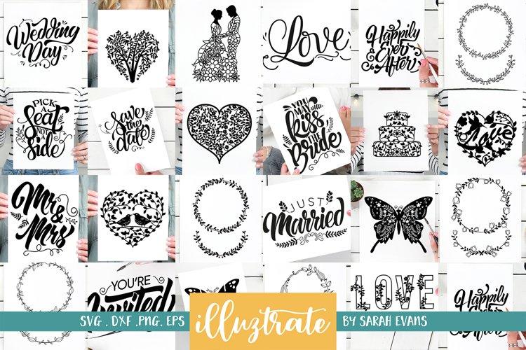 Wedding SVG Bundle - Hand Lettering - Wreath Design SVG Cuts