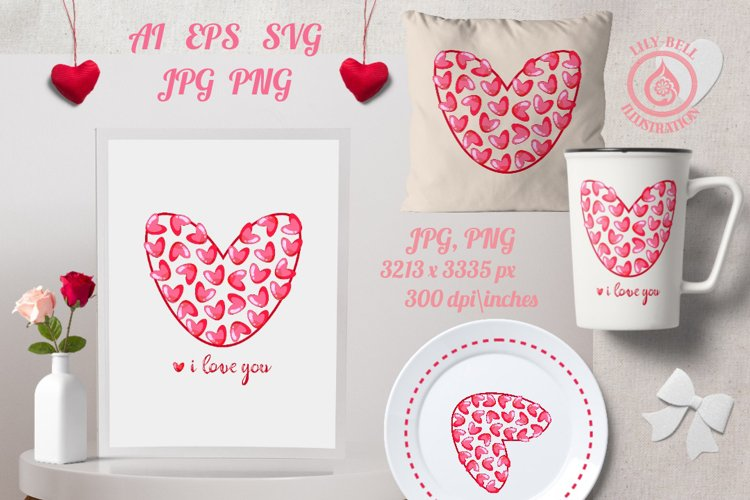 Red heart made of decorative hearts. Sublimation with quote