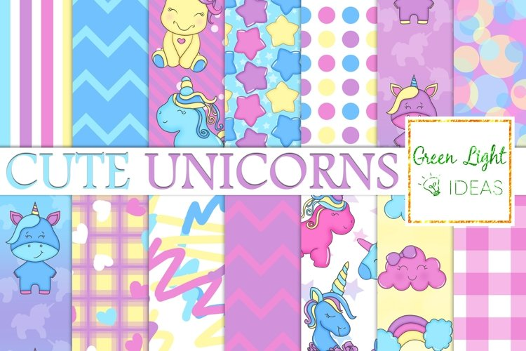 Unicorns Digital Papers, Cute Unicorns Party Backgrounds example image 1