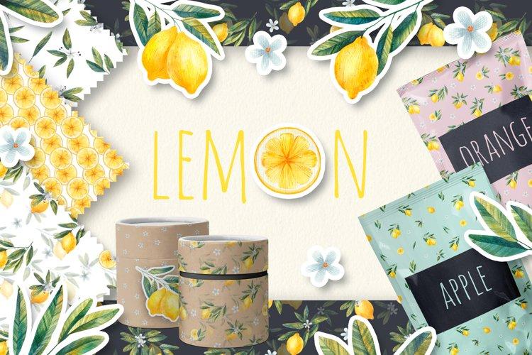 Watercolor Lemon Clipart, Citrus Design, Lemon pattern print