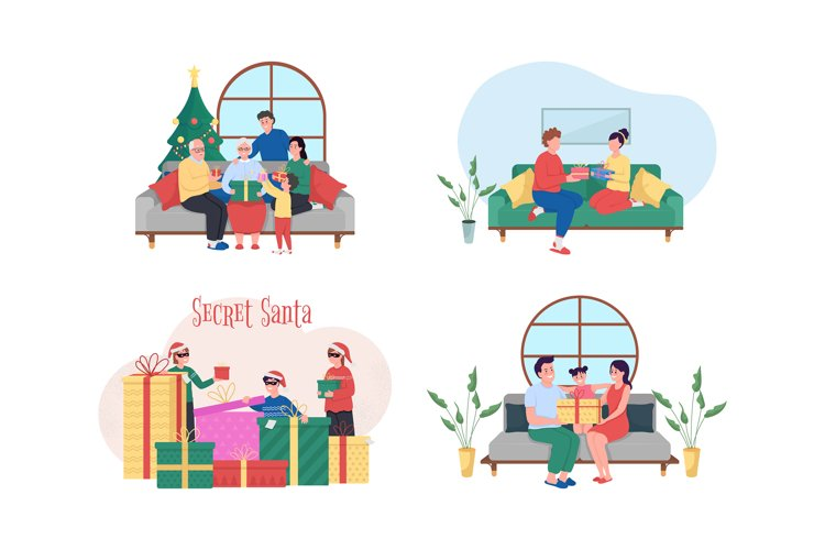 Christmas gift exchange 2D vector web banner, poster set example image 1