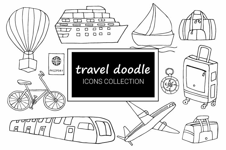 Travel doodle icons collection