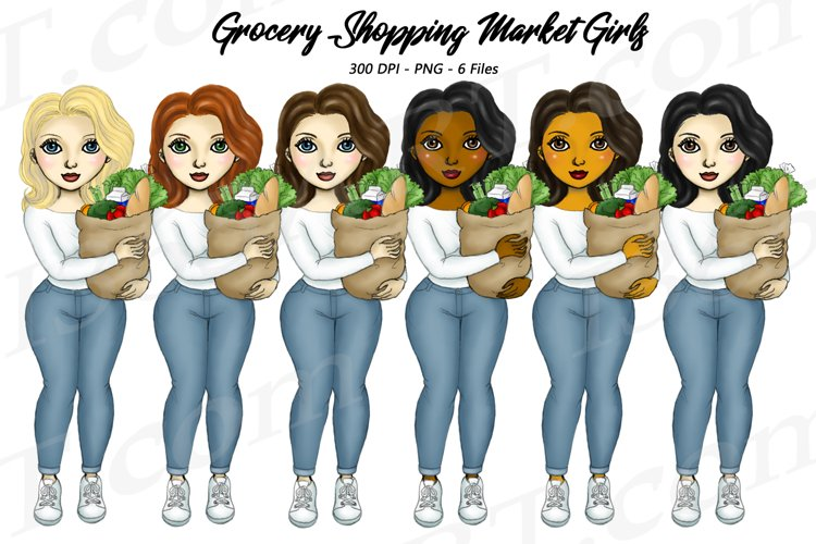 Grocery Shop Girls Chores Clipart Illustrations PNG