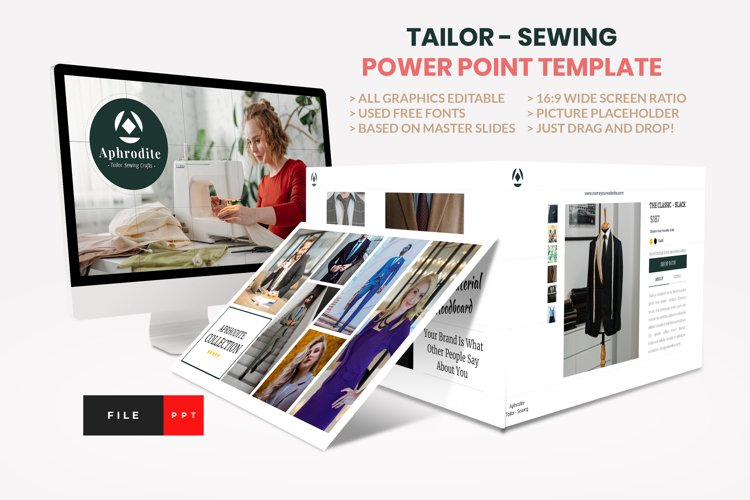 Tailor - Sewing Fashion Craft Power Point Template example image 1