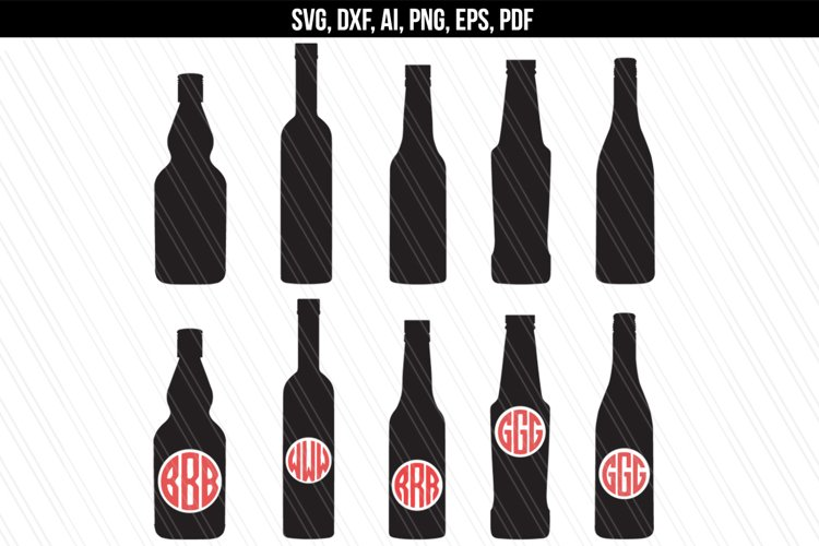Bottles svg dxf cutting files example image 1