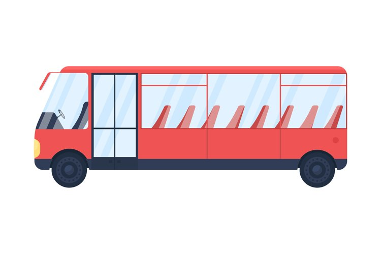 Red empty bus flat color vector object example image 1