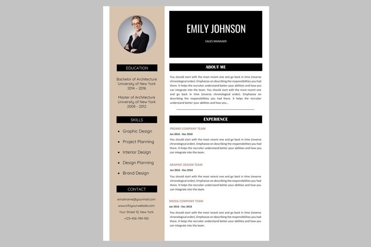 Creative resume template / CV example image 1
