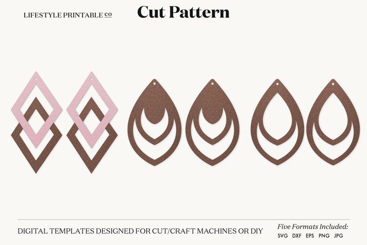 Earrings SVG Template, Silhouette Cut Files, Cricut example image 1