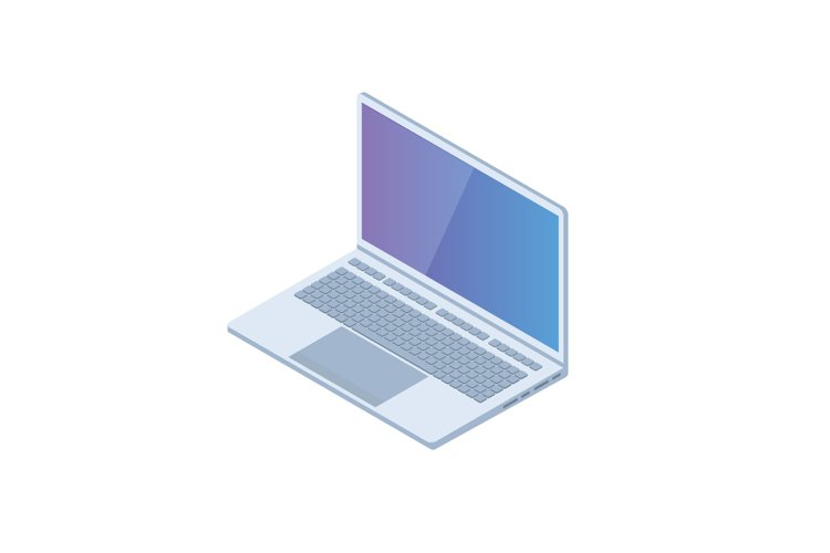 Isometric PC, laptop, notebook icon. Vector illustration example image 1