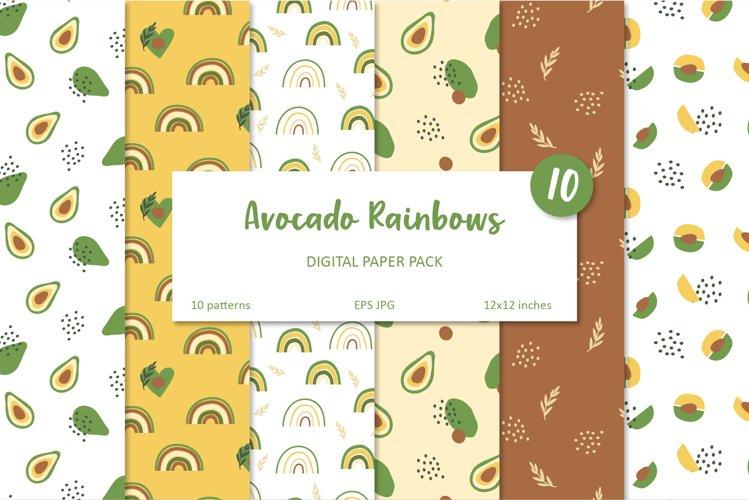 Avocado and Rainbow Seamless Patterns, Nursery Digital Paper