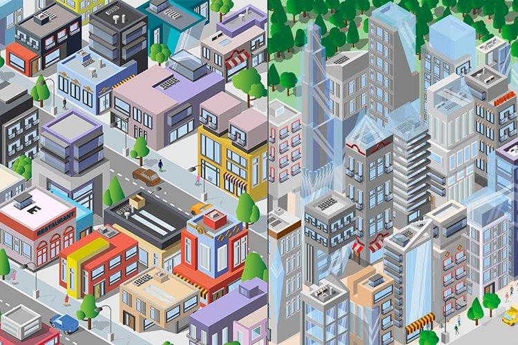 City isometric . Map Architecture. Megapolis. Urban Icons example image 1