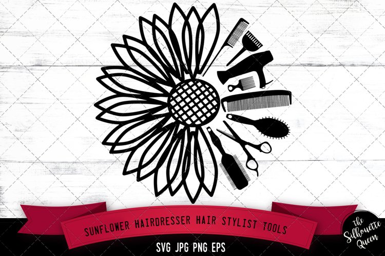 Sunflower Hairdresser Hair Stylist Tools Svg Cut File example image 1