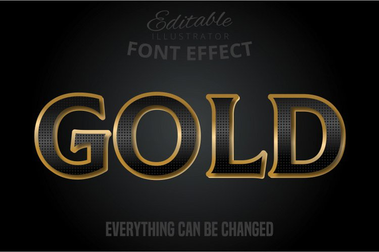 Gold text, editable text effect example image 1