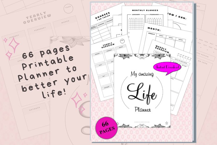 Amazing Life Printable Planner 66 pages example image 1