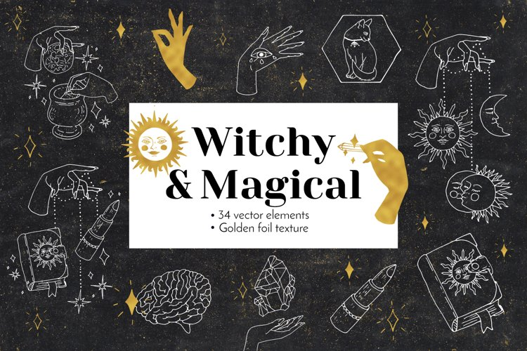 Witchy and Magical Hands and Objects - vector line art