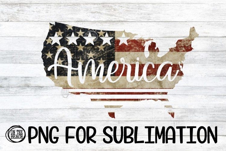 America - Map - Vintage Look - PNG for Sublimation