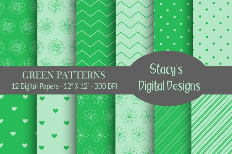 Green Patterns - 12 Digital Papers