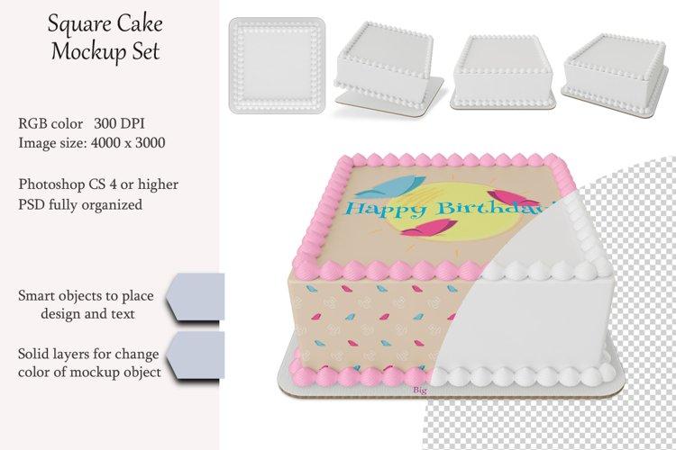 Edible Square cake Mockup set. PSD object.