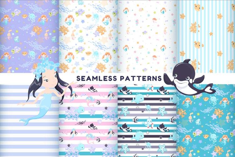 Sea life 8 seamless patterns
