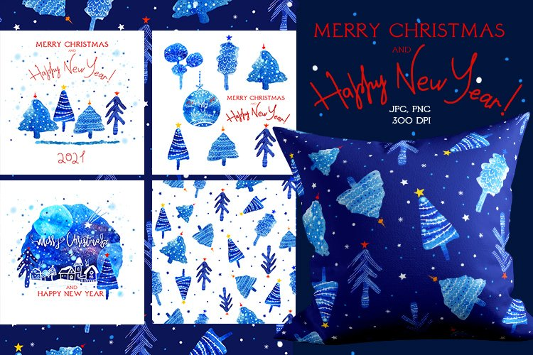 New year and Marry Christmas, watercolor card, postcards A5 example image 1