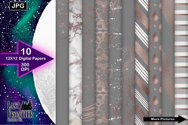 Grey and Rosegold Digital Paper Bundle example image 1
