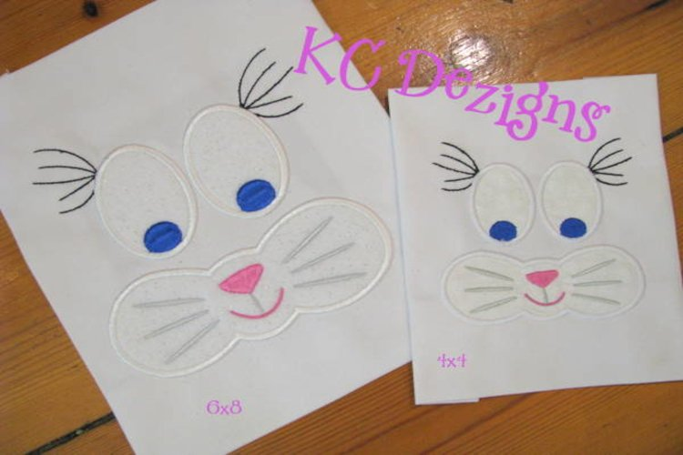 Easter Bunny Mouth With Ears Machine Applique Design
