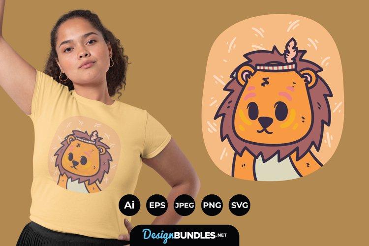 Cute Boho Lion Illustrations for T-Shirt Design