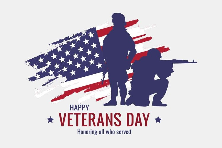 Veteran's day vector banner with USA flag and soldiers example image 1
