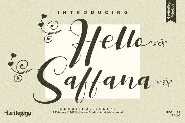 Hello Saffana - Beautiful Lovely Script Font example image 1