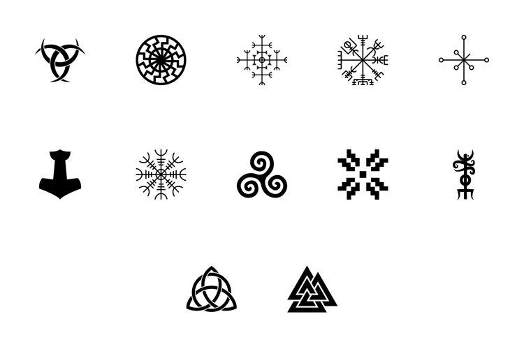 Scandinavian symbols and culture black color set solid style