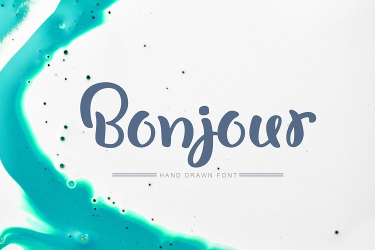 Bonjour Hand Drawn Font example image 1