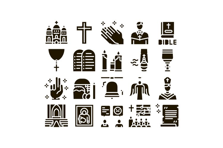 Church Christianity Glyph Set Vector example image 1