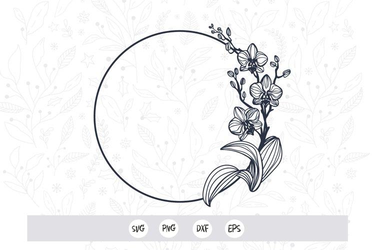 Orchid Flower frame SVG cut file / Flower Silhouette /Vector