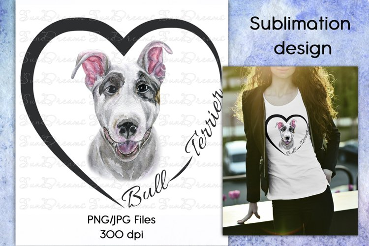 Bull Terrier dog watercolor sublimation design PNG/JPG Files example image 1