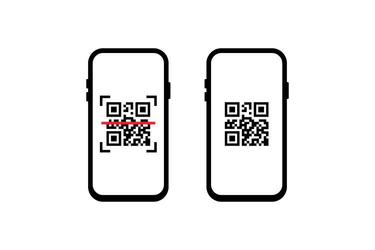QR scanner. Mobile scans QR code. Icon recognition