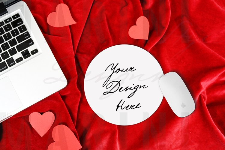 Valentines day Mouse pad Mockup, Round Mouse Pad mockup 1155