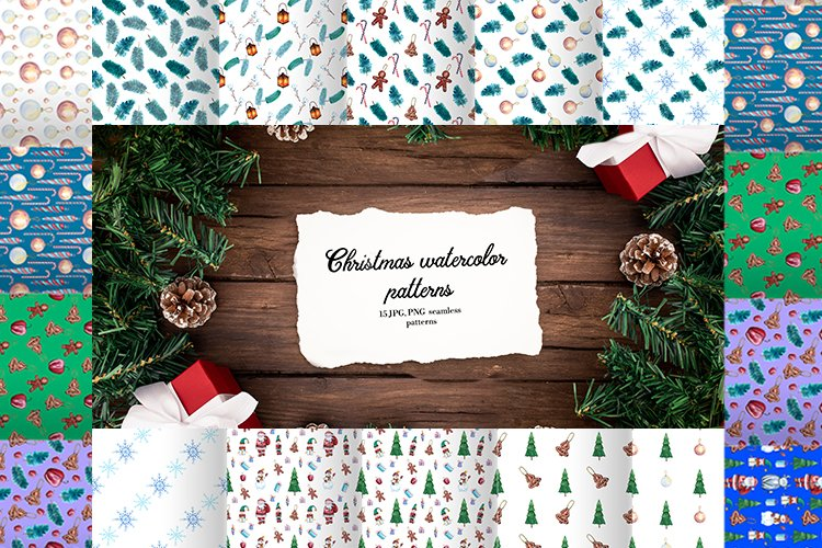 Christmas watercolor patterns. 15 seamless patterns JPG, PNG example image 1