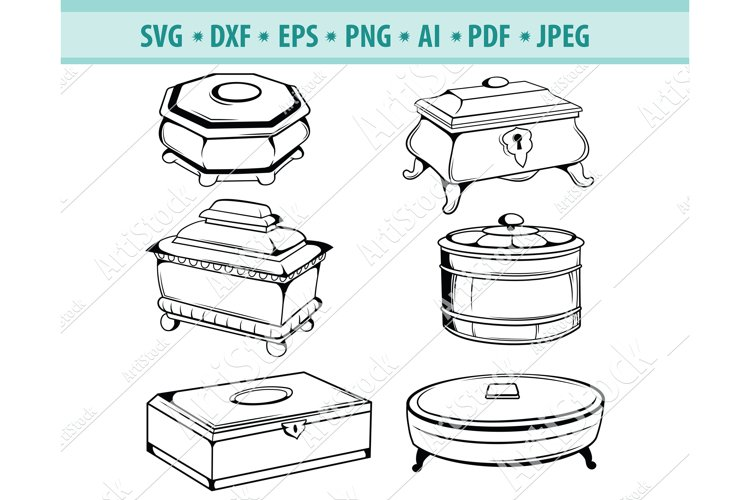 Jewelry box Svg, Antique box Png, Box for rings Dxf, Eps example image 1