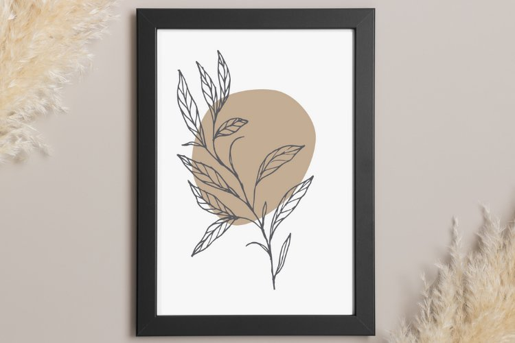 Botanical Wall Art, Plant Illustration, Abstract With Leaves