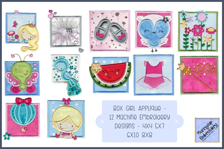 Box Girl Applique - 12 Machine Embroidery Designs example image 1
