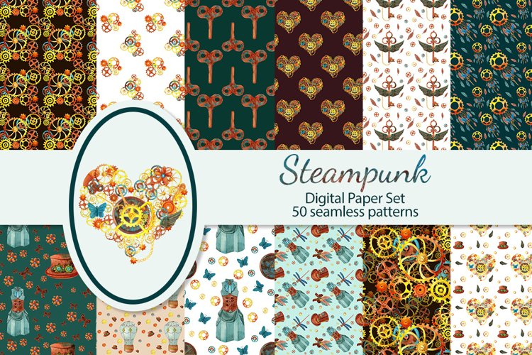 Steampunk seamles digital paper example image 1