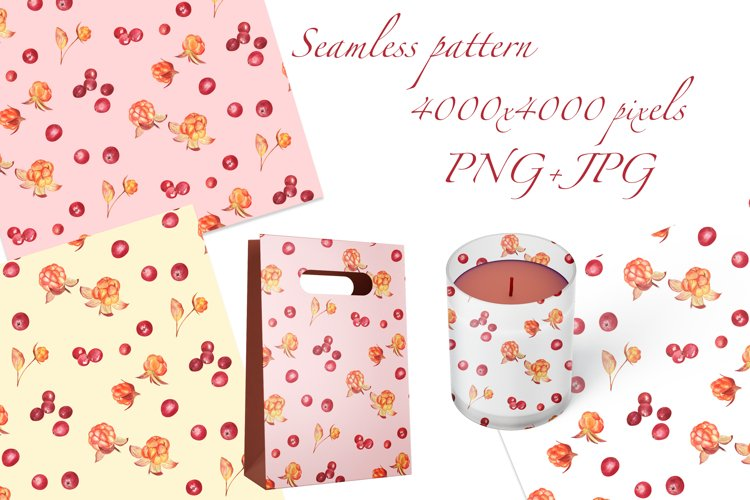 Cloudberry and Cranberry, Farmhouse watercolor patterns, PNG example 1
