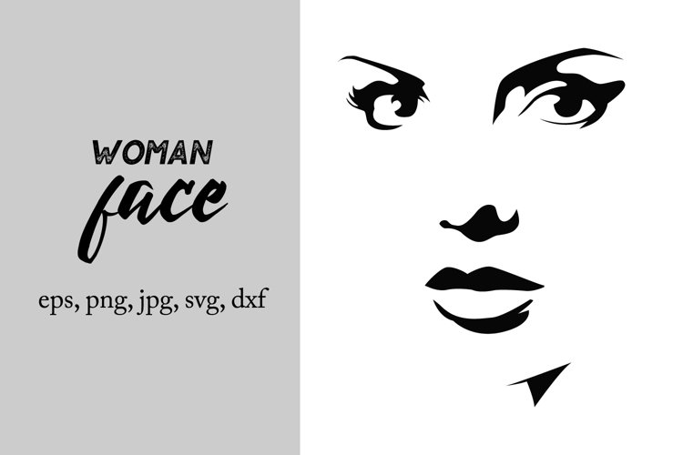 Woman face silhouette svg, woman cut file example image 1