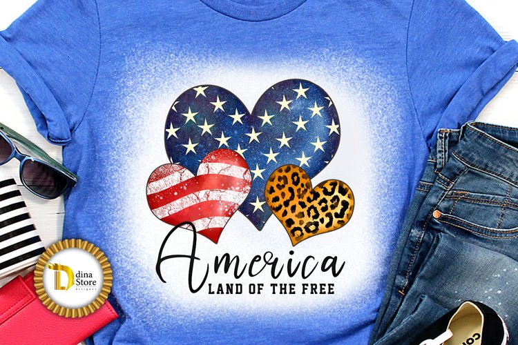 4th of July Sublimation Quote -Leopard print Heart example image 1