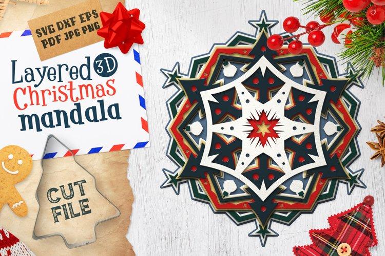 Layered 3D Christmas Mandala SVG Cut File example image 1