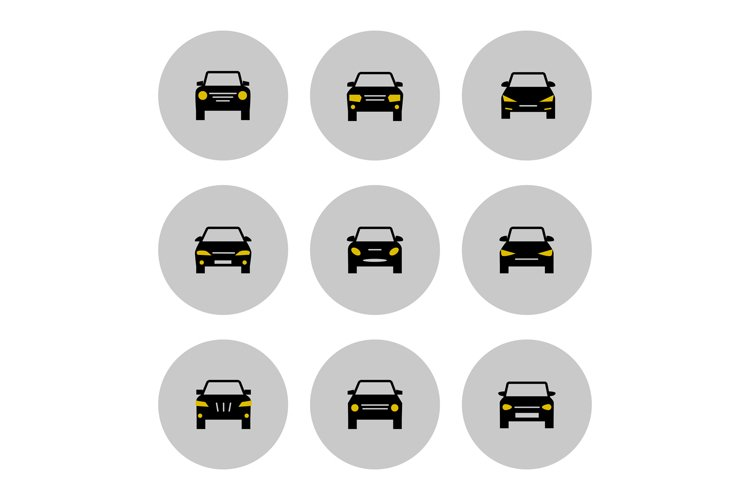 Front view cars icon with yellow lights example image 1