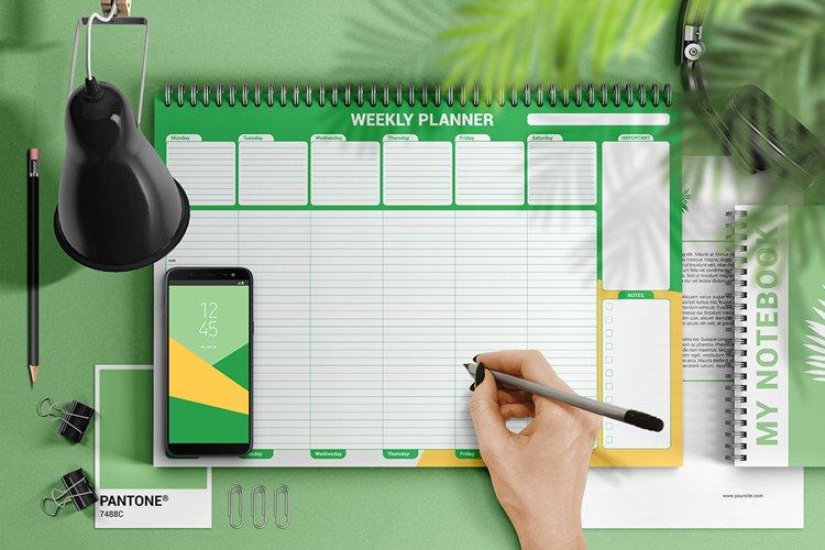 Weekly Desk Planner Mockup example image 1