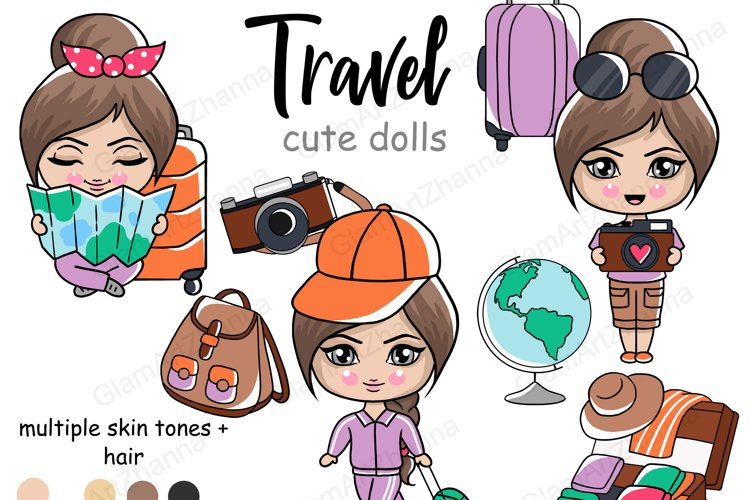 Travel CUTE DOLLS Adventure Vacation Wanderlust Clipart PNG example image 1