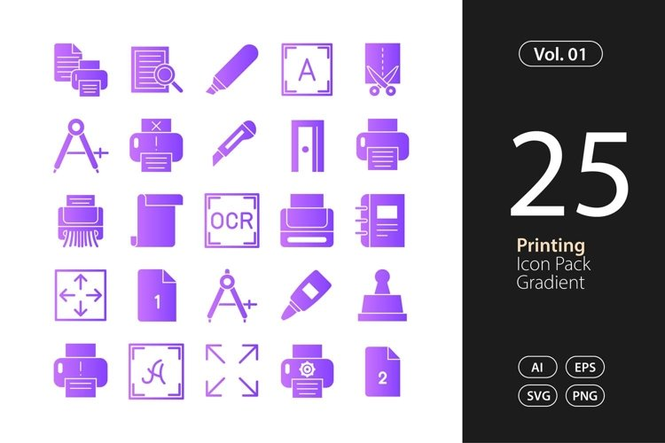 Printing Icon Gradient SVG, EPS, PNG